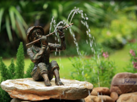 Boy & Flute Small Bronze Fountain - Johnny