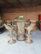Woven funiture  Table With Glass Top