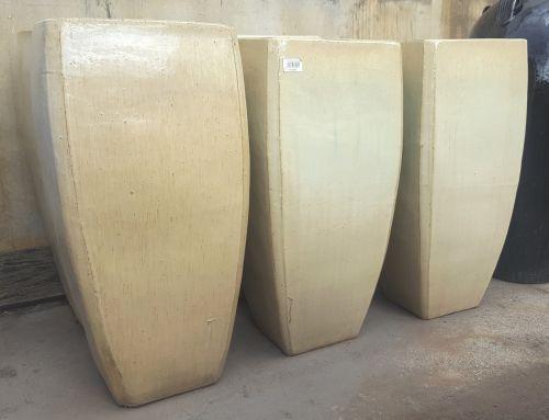 Glazed Tall Milan Planter 410 x 860 H mm - Sand (Beige/Cream) - 30% off